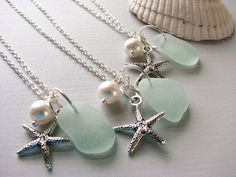 Sea Glass Bridesmaid Starfish Necklaces in Aqua Sea Foam Green, Wedding Jewelry Set of 3 Real Beach Glass