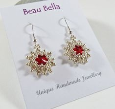 Red Star Earrings Christmas Earrings by BeauBellaJewellery on Etsy