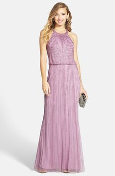 Free shipping and returns on Adrianna Papell Beaded Blouson Gown at Nordstrom.com. Intricate beadwork radiates from the halter neckline and traces striking geometric motifs across the sheer mesh overlay of an ethereal blouson gown.