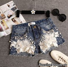 Lace Flowers Denim Fashion Shorts, Item Type:Bottoms Material:Cotton Pattern:Solid Color Style:Fashion Color:Photo Color XS (US size) Bust: Waist: Hips: S (US siz. Lace Jeans, Denim And Lace, Denim Shorts, Diy Jeans, Denim Purse, Sexy Shorts, Diy Clothing, Sewing Clothes, Short Outfits