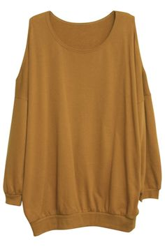 Off Shoulder Khaki Colored Pullover. Description This off-sholder pullover, featuring scoop neck and full length sleeves styling, ribbed cut to cuffs and waistband. Fabric Cotton Blends Washing Hand wash only. #Romwe