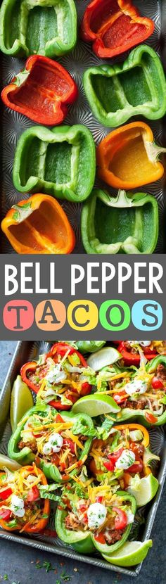 Take taco night to the next level with these Baked Bell Pepper Tacos! (vegetarian, paleo, and vegan versions available) Take taco night to the next level with these Baked Bell Pepper Tacos! (vegetarian, paleo, and vegan versions available) Paleo Recipes, Mexican Food Recipes, Low Carb Recipes, Dinner Recipes, Cooking Recipes, Paleo Dinner, Meal Prep Recipes, Low Carb Hamburger Recipes, Low Carb Summer Recipes
