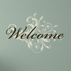 Welcome with Damask Swirl Wall Decal by luxeloft on Etsy, $14.25