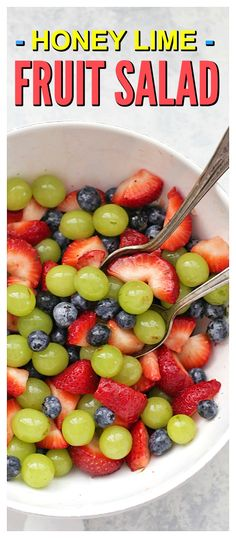 Honey Lime Fruit Salad - The perfect easy side dish. It's so fresh and delicious! Perfect for parties, big dinners, or weeknights!