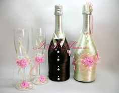 wine bottles and matching stemware