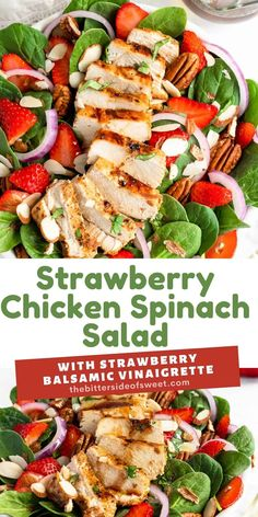 This easy Strawberry Chicken Spinach Salad is a delicious, complete meal! With marinated chicken, strawberries and a homemade vinaigrette!   The Bitter Side of Sweet Easy Appetizer Recipes, Quick Dinner Recipes, Easy Salads, Healthy Salad Recipes, Quick Meals, Appetizers, Best Chicken Recipes, Sweet Recipes, Yummy Recipes