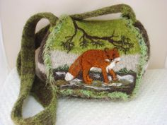 www.feltedfantasies.com, felted purse, felted handbag, felted tote, wearable art, fiber art, needle felt art, animal art, $185, fox art