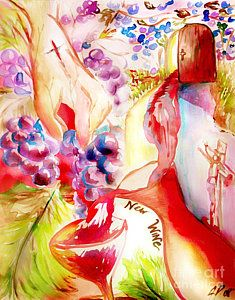 Prophetic Art Painting - New Wine by Jennifer Page