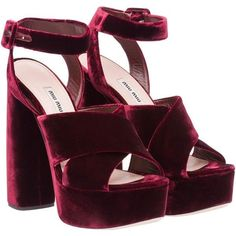 Miu Miu Sandals (17,100 HNL) ❤ liked on Polyvore featuring shoes, sandals, heels, burgundy, platform shoes, miu miu, high heel sandals, burgundy shoes and miu miu shoes #sandalsheelswedding