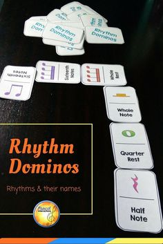 Reinforce rhythm notation and names with dominos! Great for centers and sub activities in the elementary general music classroom! Music Education Games, Music Activities, Music Games, Piano Lessons, Music Lessons, Music Classroom, Music Teachers, Classroom Ideas, Middle School Music