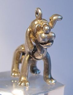 SOLID SILVER CHARM - PLUTO THE DOG - HEAD & TAIL MOVES - 1960's - RARE - 24 gbp