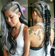 @bescene silver hair undercut braid black