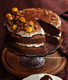 Torcik czekoladowy wegański, bez glutenu, bez cukru - Mała Cukierenka Gluten Free Recipes, Free Food, Food And Drink, Vegan, Sweet, Cakes, Interior, Diet, Food