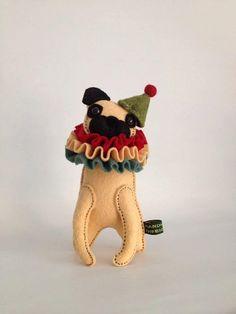 Handmade miniature Pug black or fawn choose Accessory art doll soft sculpture dog