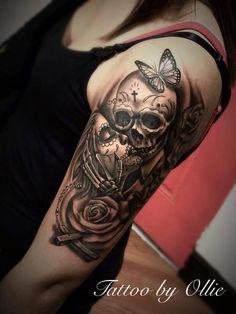 Skull tattoos for men and women . - Skull tattoos for men and . - Skull tattoos for men and women … – Skull tattoos for men and women … – - Skull Sleeve Tattoos, Sugar Skull Tattoos, Best Sleeve Tattoos, Tattoo Sleeve Designs, Tattoo Designs For Women, Tattoo Sleeves, Sugar Skull Sleeve, Sugar Skulls, La Muerte Tattoo