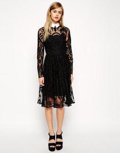 ASOS | ASOS Lace Applique Midi Dress with Collar at ASOS