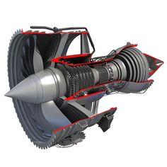 model: Realistic and fully detailed model of jet turbofan engine cutaway. Turbine Engine, Gas Turbine, Rolls Royce Trent 1000, Aeroplane Engine, Turbofan Engine, Aerospace Engineering, Aircraft Engine, Jet Engine, Aircraft Design
