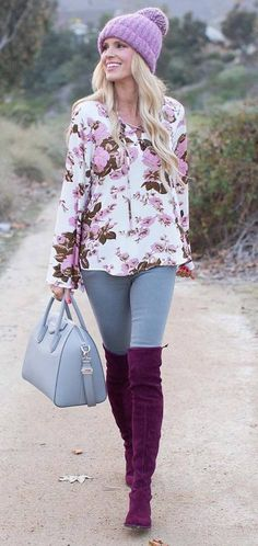 fashionable outfit floral top + bag + skinnies + over the knee boots