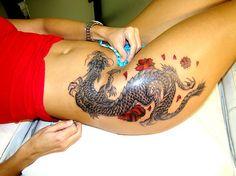 dragon hip tattoo | Hip Dragon With Flowers - Free Download Tattoo #14124 Hip Dragon With ...