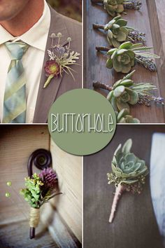 Golf tee in any of these would be great. Succulent boutonnieres