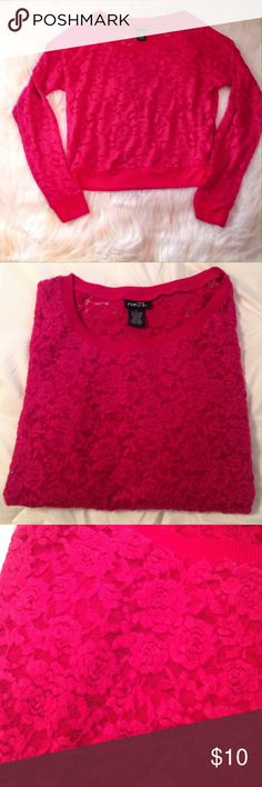 Soft lace top. This beautiful lace top is for the romantic . It is so pretty on . Has a  lace pattern of roses on it .  It is brand new never been worn . No trades . In excellent pre owned condition.0010 Rue21 Tops Blouses