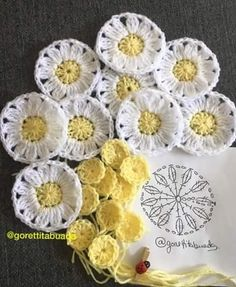 Patrones de Flores en crochet ll We are want to say thanks if you like to share … Crochet Flower Squares, Crochet Daisy, Crochet Flower Tutorial, Crochet Motifs, Crochet Flower Patterns, Crochet Diagram, Crochet Art, Love Crochet, Crochet Designs