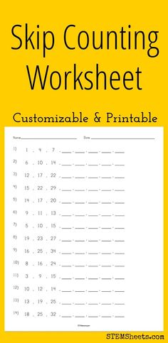 Skip Counting Worksheet - Customizable and Printable