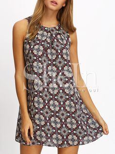 $$18 Multicolor Print Keyhole Back Shift Dress