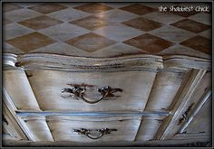 Beautiful, heavily distressed hutch base with harlequin top