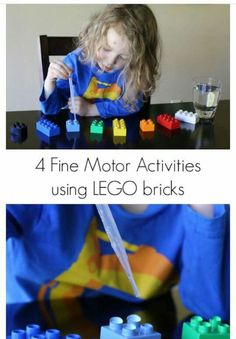 Fine motor skills practice - water dropper on Legos/ Duplos