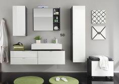 Ensemble de salle de bain design gris/blanc laqué Messine