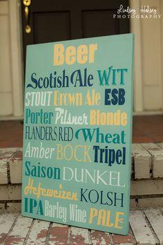 Beer 16x24 wood sign Types of beer by IrisLaneDesigns on Etsy