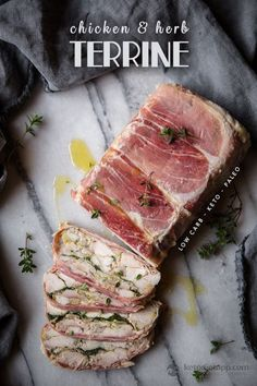 This keto & paleo chicken and herb terrine is really tasty and impressive dish to take along to a party or potluck, and is actually really simple to make. Dairy Free Keto Recipes, Low Carb Dinner Recipes, Paleo Dinner, Healthy Recipes, Pate Recipes, Cooking Recipes, Terrine Recipes, Cake Sandwich, Chicken Terrine