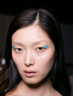 SS16 - Almost fluro aqua at Byblos... #mfw - more #bluemakeup on Anything-blue.com