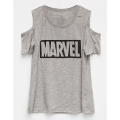 Marvel Cold Shoulder Girls Top (235 CZK) ❤ liked on Polyvore featuring tops, short sleeve tops, cold shoulder short sleeve tops, cut out detail top, crew top and cutout tops