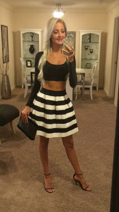 Black and white skirt and crop top.