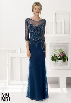 Evening Gown 71134 Beaded Net over Lace