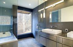 Nice curbless shower, big gray tiles