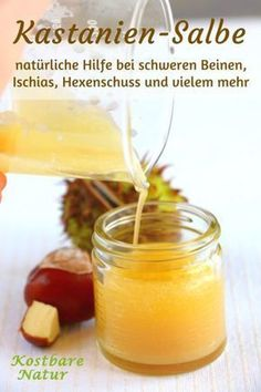 Kastanien-Salbe gegen schwere Beine, Ischias, Hexenschuss und mehr The healing effects of horse chestnut in a homemade ointment – for heavy legs, joint problems, inflammation and more. Natural Health Remedies, Herbal Remedies, Cold Remedies, Ginger Benefits, Salud Natural, Natural Treatments, Homemade Beauty, Natural Healing, Natural Oil