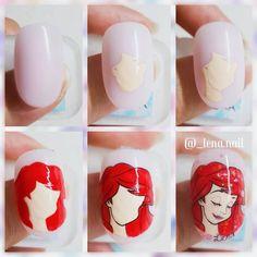 super ideas for nails mermaid nailart Funky Nail Art, New Nail Art, Little Mermaid Nail Art, Nail Art Dessin, Peacock Nail Art, Disney Inspired Nails, Disney Princess Nails, Mickey Mouse Nails, Anime Nails