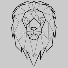 Löwe Geometrisch Geometrie - schwarz Frauen Premium T-Shirt Geometric Lion Tattoo, Geometric Drawing, Lion Origami, Animal Drawings, Art Drawings, Origami Tattoo, Lion Tattoo Design, Lion Design, Lion Drawing