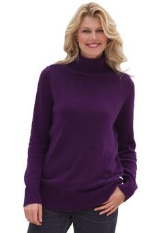 Plus Size Solid Turtleneck Sweater (Dark Navy,S) BCO. $12.99. Save 71%!