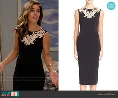 Marisol's black dress with white embroidery on Devious Maids Fashion Tv, Fashion Outfits, Ana Ortiz, Devious Maids, White Embroidery, Hey Girl, Sheath Dress, Ted Baker, Tvs