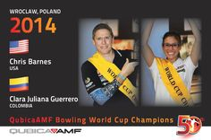 Chris Barnes - USA Clara Juliana Guerrero - Colombia Champs of the 50th QubicaAMF Bowling World Cup Held in 2014 in Wroclaw, Poland at the Sky Tower SkyBowling center