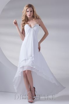 New Arrival A-line Asymmetrical Sweetheart Zip-up Chiffon Sequined White Prom Dresses
