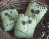 Primitive Halloween Frankenstein Bowl Fillers ...assorted set of 3