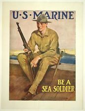 A Sea, Us Marines, Usmc, Wwi, Vintage Posters, Baseball Cards, Ebay, Image, Poster Vintage