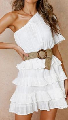 Ruffle White Women Dress One Shoulder Female Party Elegant White Dresses Summer Beach Belt Tie Dress Vestidos Color White Size S Elegant White Dress, Elegant Party Dresses, White Dress Summer, Casual Dresses, Summer Dresses, White Dresses For Women, Party Dresses For Women, White Women, Bodycon Dress Parties