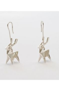 Deer Earrings Origami Jewelry Claire Naa Paris