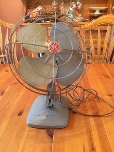 Vintage GE General Electric Desk Fan Gray Industrial Oscillating Red Logo